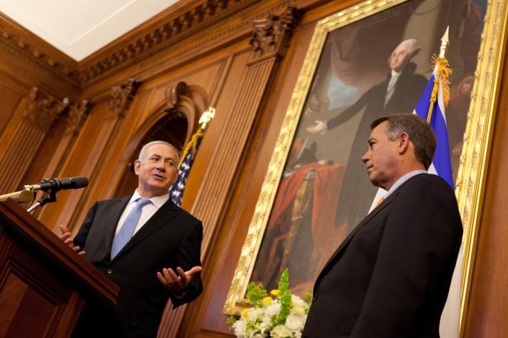 Premier Netanyahu bedankt Congres voorzitter Boehmer na zijn toespraak tot het Congres. Foto: Flckr.