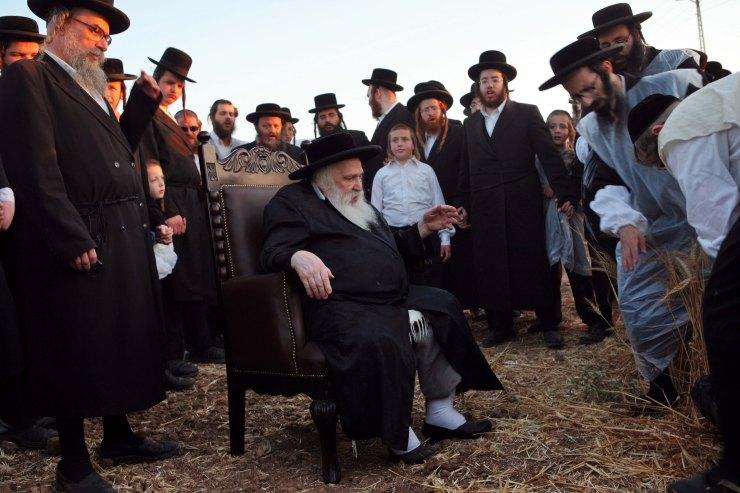 De Admor (acroniem voor 'onze meester, leraar en rabbijn') van de Shomrei Emunim Chassidiem tijdens de tarweoogst voor de matzes, die tijdens Pesach worden gegeten. Komemiyyut, 2007. Foto: Menahem Kahana, Israël Museum.