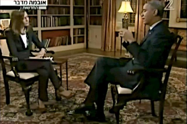 President Barack Obama op de Israëlische TV. Foto: Channel 2 TV.