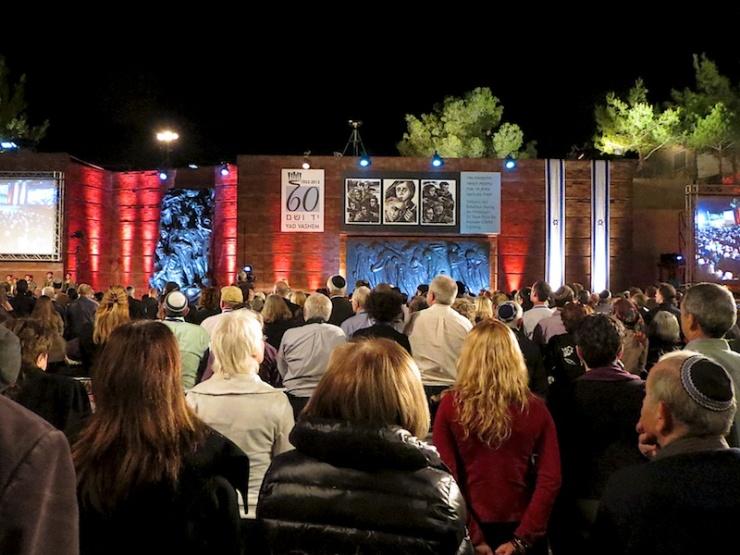 Bij het begin van de Shoah herdenking zondagavond in Yad Vashem. Foto: © Vidar Norberg