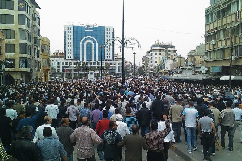 Demonstratie in Homs tegen bewind Assad. Foto: Wiki Commons.