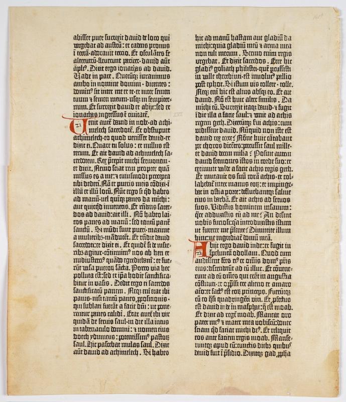 Blad van de Gutenbergbijbel. Foto: Ardon Bar-Hama