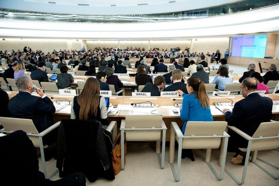 De stoel van Israël bij de VN Mensenrechtenraad in Genève bleef eerder dit jaar nog leeg. Foto: Jean-Marc Ferré - VN Genève.