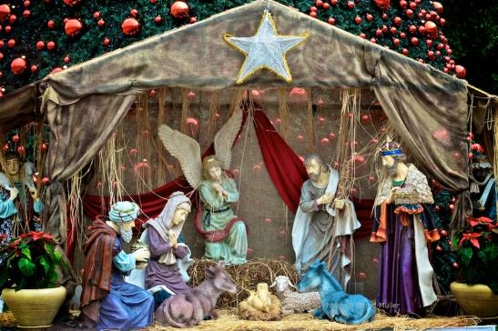 Kerststal op het Kribbeplein.