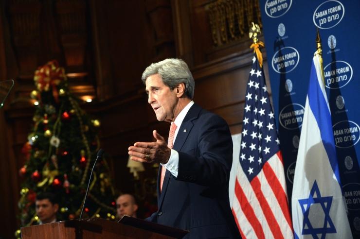 Foto: Op het Saban Forum liet Kerry weten met een kaderplan te willen komen. Foto: State Department.