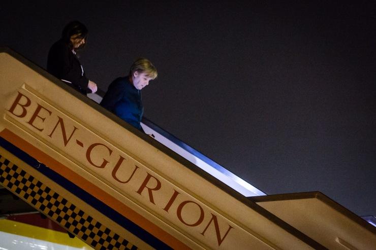Bondskanselier Angela Merkel arriveert in Israël. Foto's: kantoor van Die Bundeskanzlerin