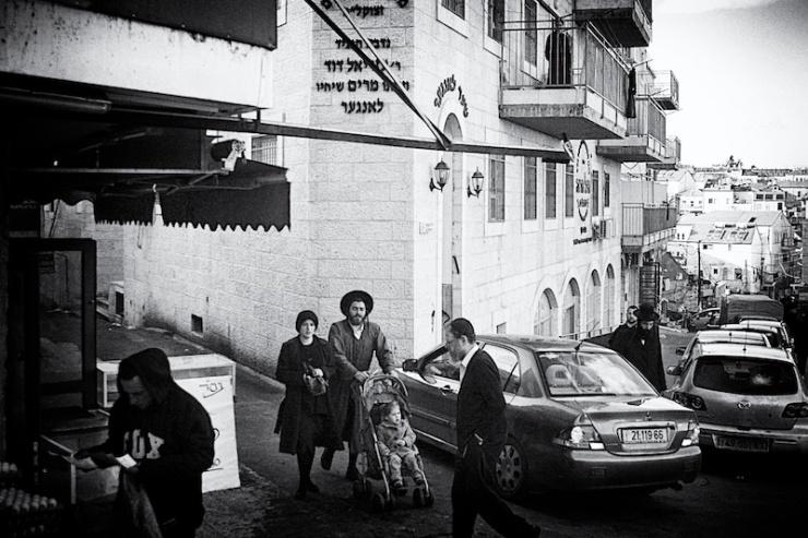 In de ultra-orthodoxe wijk Mea Shearim in Jeruzalem. Foto: © Alfred Muller