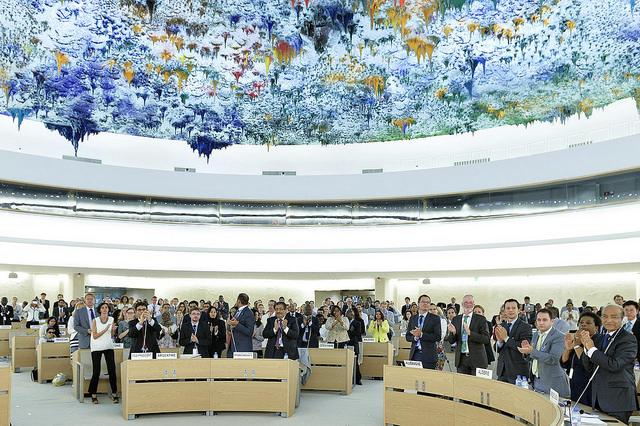 De VN-Mensenrechtenraad zet het falen van Israël uitgebreid op een rij, maar noemt nergens het optreden van Hamas. Foto: UN Genève op Flickr/CC.  https://www.flickr.com/photos/unisgeneva/14354137359/