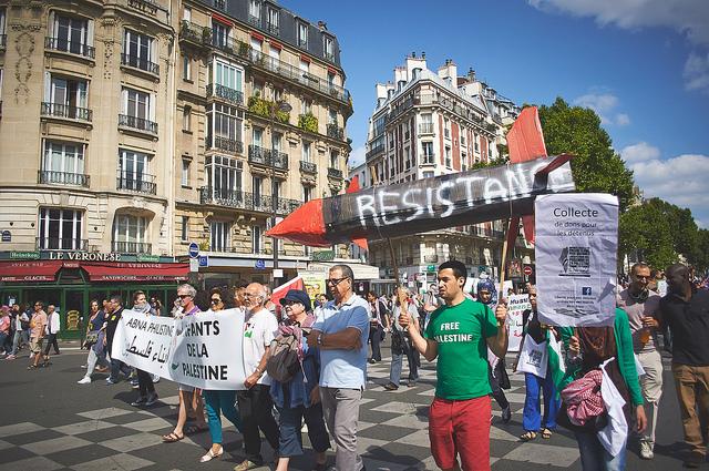 Bij een pro-Gaza manifestatie in Frankrijk. Foto: Mourad DACHRAOUI / CC Flickr.