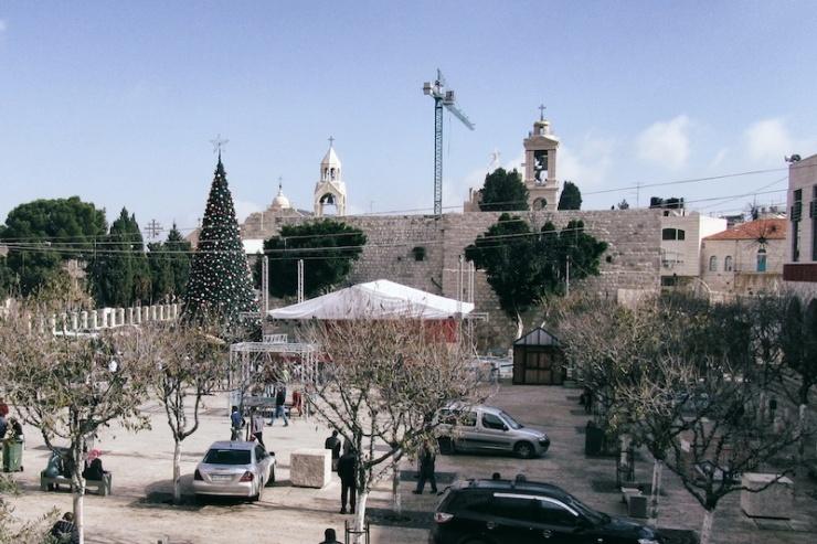 Het Geboorteplein in Bethlehem, met op de achtergrond de Geboortekerk.
