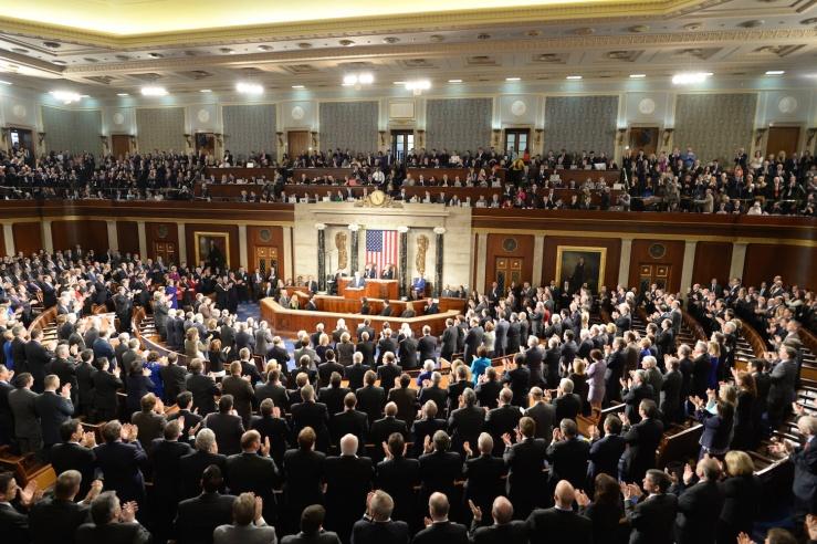 Premier Benjamin Netanyahu spreekt tot het Congres. Foto: Amos Ben Gershom GPO.