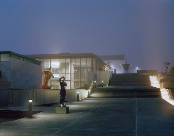 Israel Museum nighttime view of Carter Promenade