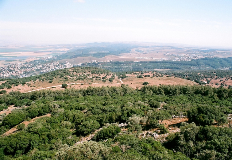 Uitzicht vanaf de Karmel bij El Muhraqa.