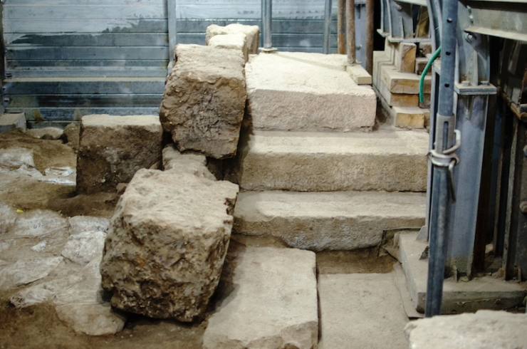 Een podium op de Siloam weg uit de Tweede Tempelperiode. Foto: Alfred Muller