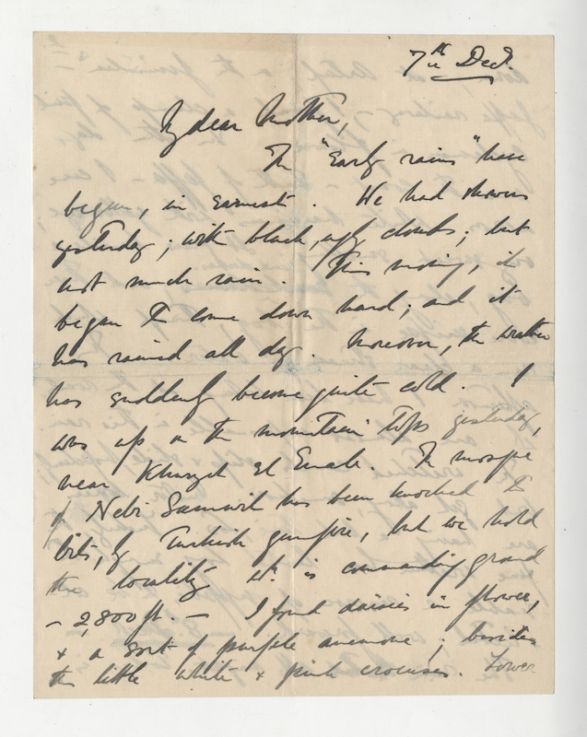 Allenby_s letter to his mother. December 7th 1907.page 1 courtesy.Liddell Hart Centre for Military Archives, King_s College London