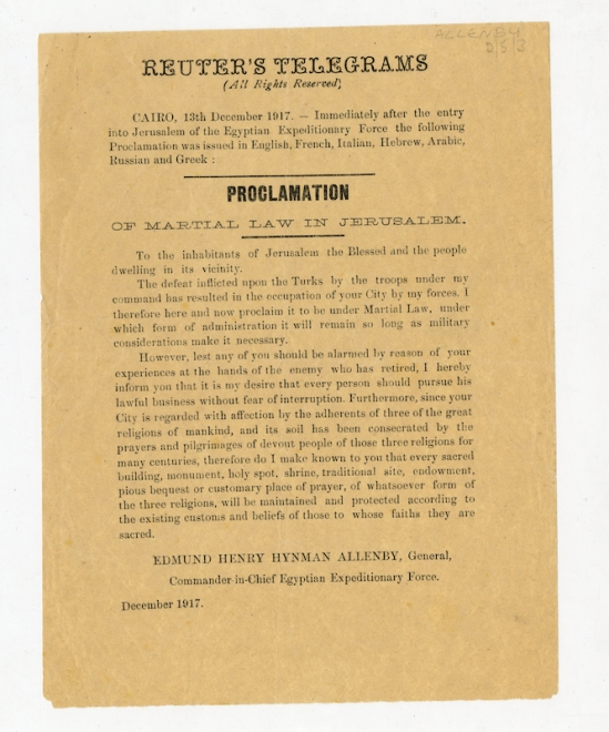 Proclamation - Reuters Telegram -Liddell Hart Centre for Military Archives, King_s College London