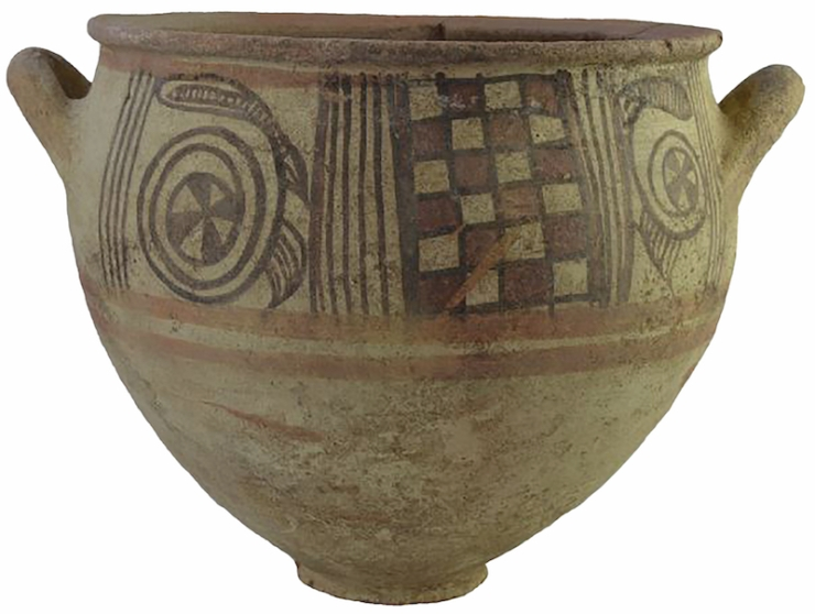 Philistine Bichrome Krater (a large bowl for mixing wine) from the 11th century BC. Photograph by Melissa Aja Courtesy of the Leon Levy Expedition to Ashkelon_