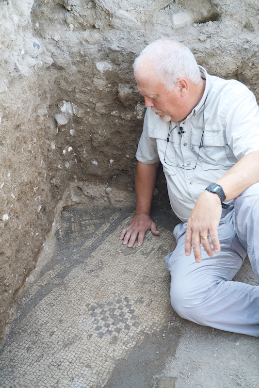 ZAY08929 R. Steven Notley bekijkt een van de mozaïeken